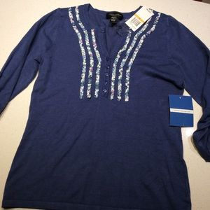 Cable and gauge  blue sweater SMALL